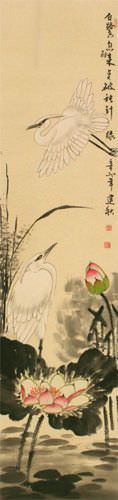 Lily Pond - Fragrant Lotus - Egret Birds and Lotus Flowers Wall Scroll close up view