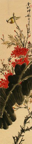 Golden Autumn Rhythm - Bird and Flower - Chinese Wall Scroll close up view