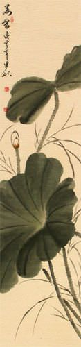 Fragrance of Lotus - Bird and Flower Wall Scroll close up view