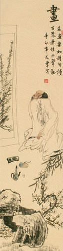 Man Enjoying a Painting - Wall Scroll close up view