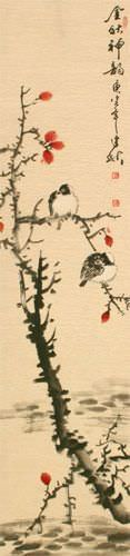 Golden Autumn Charm - Birds and Flower - Wall Scroll close up view