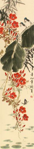 Birds, Butterfly, Morning Glory Flowers, Bamboo - Chinese Wall Scroll close up view