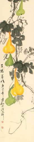 Gourd Vine and Birds - Chinese Wall Scroll close up view