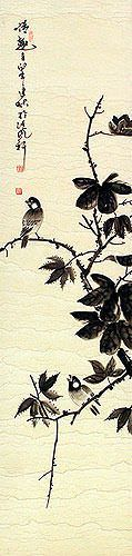Birds Delight - Wall Scroll close up view