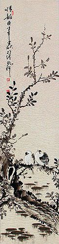 Beautiful Feeling / Loving Feeling - Sparrows Perched on Branch Wall Scroll close up view