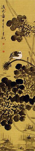 Clear Dawn - Bird and Lotus Pond - Chinese Wall Scroll close up view