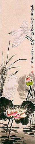 Egret Birds and Lotus Wall Scroll close up view
