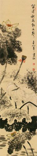 Autumn Rain - Lotus Flower and Egret Birds Wall Scroll close up view