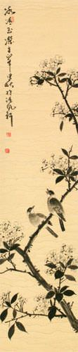 Purity of Jade and Ice - Bird and Flower Wall Scroll close up view