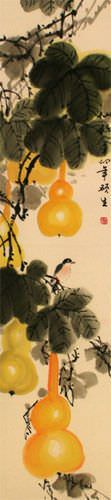 Yellow Gourds - Heavenly Fruit - Chinese Scroll close up view