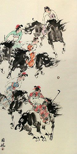 Traditional Chinese Horseback Polo - Large Wall Scroll close up view