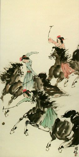 Polo Horse Wall Scroll close up view