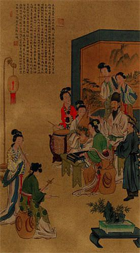 Musicians - Large Wall Scroll close up view