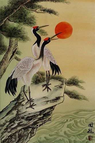 Antique-Style Asian Cranes Wall Scroll close up view