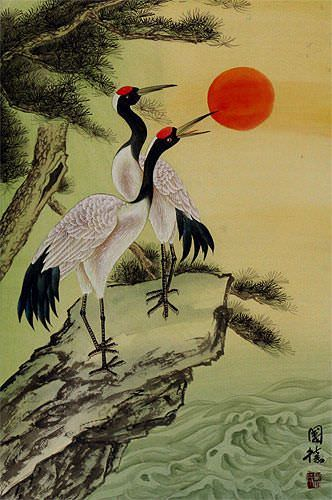 Ocean Cranes and Pine Tree Wall Scroll close up view