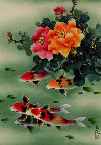 Peony Flowers & Koi Fish - Chinese Wall Scroll close up view