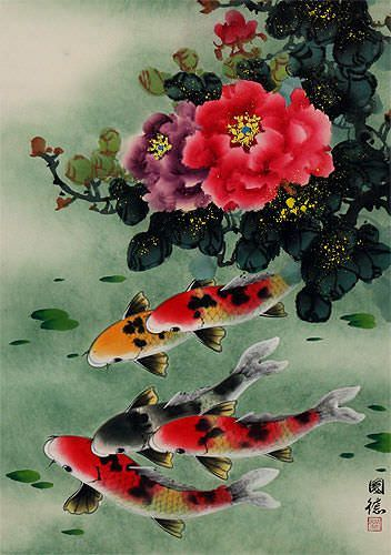 Koi Fish & Peony Flower - Chinese Wall Scroll close up view