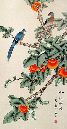 The Golden Autumn - Bird and Persimmon Chinese Wall Scroll close up view