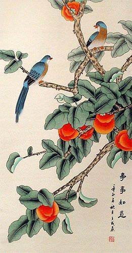 Bird and Persimmon - The Golden Autumn - Chinese Scroll close up view