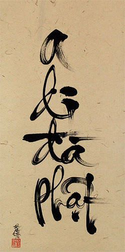 Amitabha Buddha Vietnamese Calligraphy Wall Scroll close up view