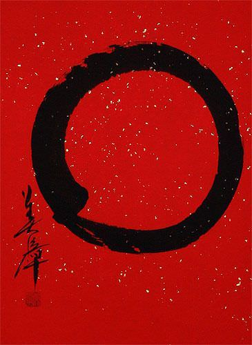 Large Red Enso Symbol - Japanese Wall Scroll close up view