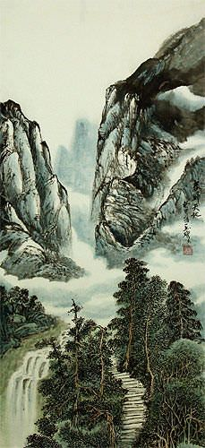 Mountain Waterfall - Chinese Landscape Wall Scroll close up view
