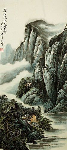 Mountains and River Village Homes - Chinese Landscape Wall Scroll close up view
