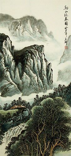 Mountains Waterfall and River Village Home - Chinese Landscape Wall Scroll close up view