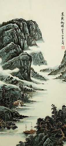 Chinese Mountain River Village and Boats Landscape Wall Scroll close up view