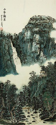 Mountain Waterfall and Pagoda - Chinese Landscape Wall Scroll close up view