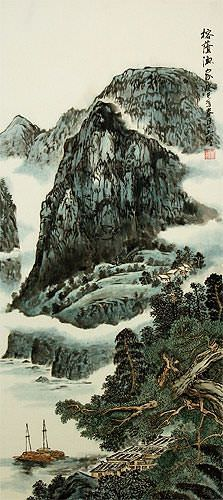 Mountains River Boats, and Village Homes - Chinese Landscape Wall Scroll close up view