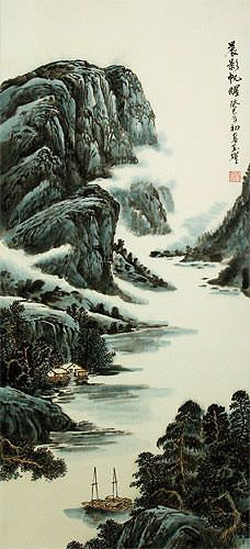 Sailing Boats at Dawn - River Landscape Wall Scroll close up view