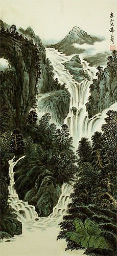 Chinese Waterfall Landscape Wall Scroll close up view