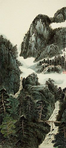 Asian Waterfall Landscape Wall Scroll close up view