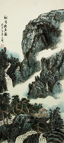 Chinese River Home Landscape Wall Scroll close up view