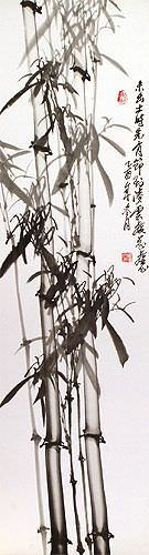 Traditional Chinese Bamboo Wall Scroll close up view