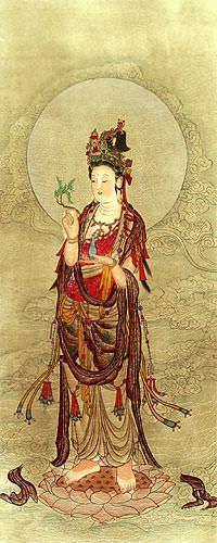 Kuan Yin Buddha - Partial-Print Wall Scroll close up view