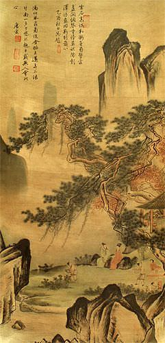 Happy Family - Chinese Landscape Print Wall Scroll close up view