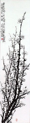 Traditional Chinese Plum Blossom Wall Scroll close up view