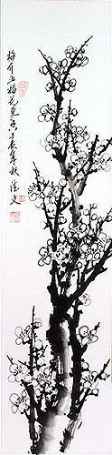 Blooming Plum Blossom - Fragrant Breeze - Wall Scroll close up view