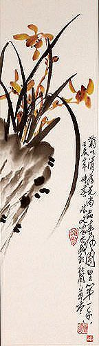 Traditional Chinese Orchid Wall Scroll close up view