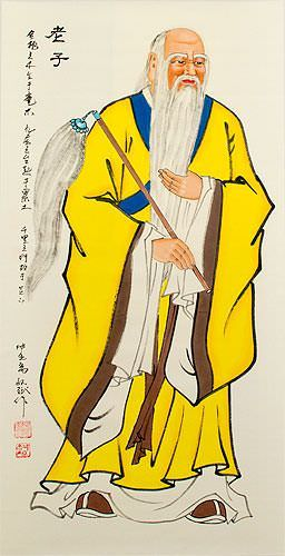 Philosopher Lao Tzu / Laozi Wall Scroll close up view