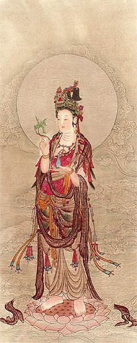 Image of Guanyin Buddha - Partial-Print Wall Scroll close up view