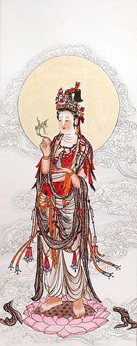 Guanyin Buddha Wall Scroll close up view