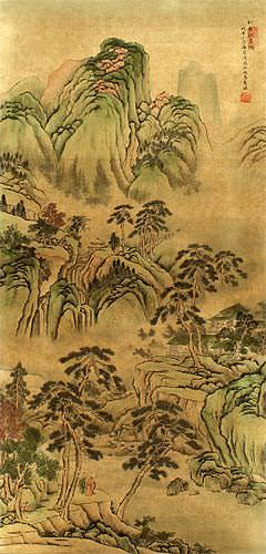 Scenery of Pine Mountain - Chinese Landscape Print Wall Scroll close up view