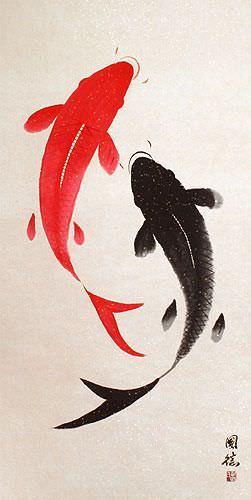 Large yin yang fish chinese wall scroll asian koi fish for Chinese art koi fish