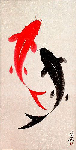 Large Yin Yang Fish - Chinese Wall Scroll close up view