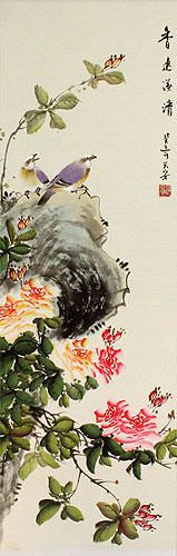 Fresh Breeze, Drifting Far - Bird & Flower Chinese Scroll close up view