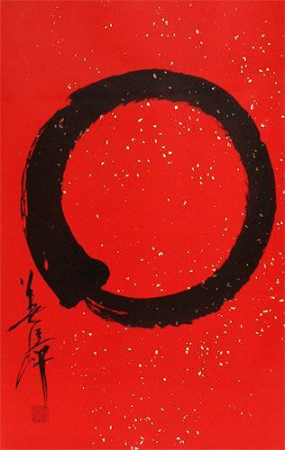Enso Zen Circle Wall Scroll close up view