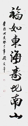A Wish for a Long and Prosperous Life - Chinese Calligraphy Wall Scroll close up view